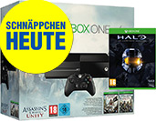 Xbox One 500 GB Bundle mit Assassins Creed: Unity, Assassins Creed: Black Flag und Halo Master Chief Collection uncut PEGI Cover Packshot