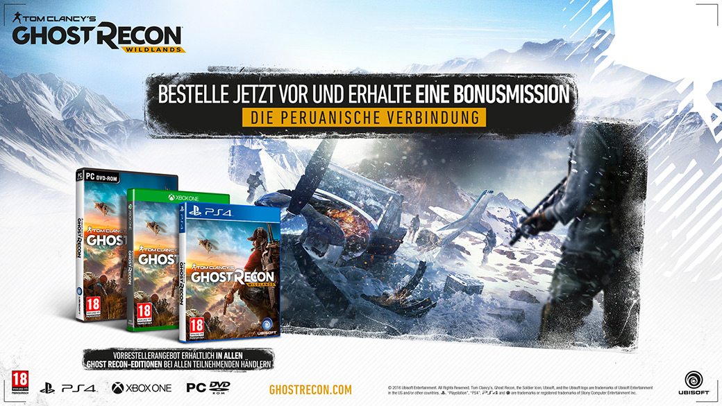 Vorbesteller-Aktion zu Tom Clancys Ghost Recon Wildlands D1 Edition uncut