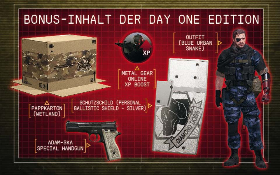 Metal Gear Solid 5: The Phantom Pain Day One Edition als garantiert unzensierte AT-PEGI Version vorbestellen und exklusive Boni sichern.