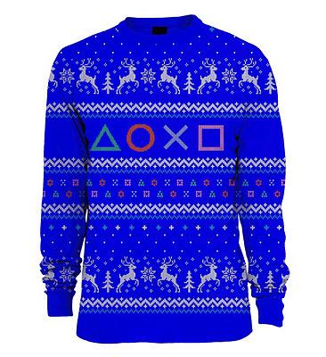 Einfach und sicher online bestellen: PlayStation Pullover Symbols Xmas Blue M in Österreich kaufen.