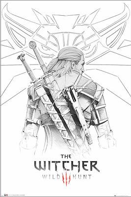 Einfach und sicher online bestellen: The Witcher Poster Geralt Sketch in Österreich kaufen.