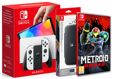 Einfach und sicher online bestellen: Nintendo Switch OLED weiß + Metroid + Tasche in Österreich kaufen.