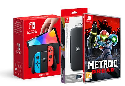 Einfach und sicher online bestellen: Nintendo Switch OLED Rot-Blau + Metroid + Tasche in Österreich kaufen.