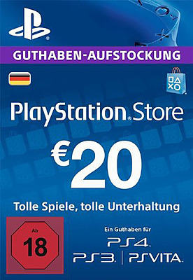 Einfach und sicher online bestellen: PlayStation Store 20 EUR Guthaben-Aufstockung (DE) in Österreich kaufen.