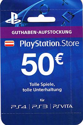 Einfach und sicher online bestellen: PlayStation Store 50 EUR Guthaben-Aufstockung (AT) in Österreich kaufen.