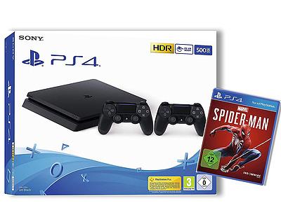 Einfach und sicher online bestellen: PlayStation 4 500 GB Slim Jet Black + Spiderman in Österreich kaufen.