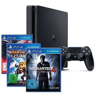 Einfach und sicher online bestellen: PlayStation 4 (Slim) 1TB + Uncharted 4 + 2 Spiele in Österreich kaufen.