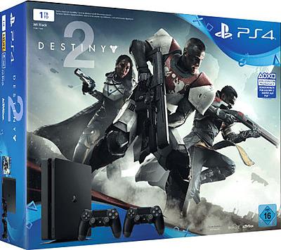 Einfach und sicher online bestellen: PlayStation 4 (Slim) 1TB + 2 Controller + Destiny2 in Österreich kaufen.