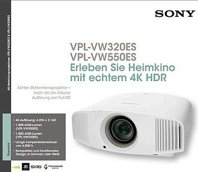 Einfach und sicher online bestellen: Sony VPL-VW550ES - 4K - SXRD Projektor Weiss in Österreich kaufen.