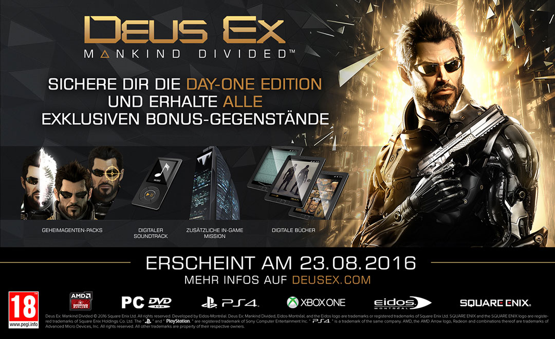 Vorbesteller-Aktion zu Deus Ex: Mankind Divided D1 Edition uncut